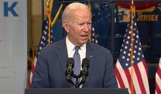 President Joe Biden speaks in Kearny, New Jersey, on Monday.