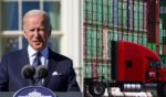 Left: President Joe Biden delivers remarks at the White House on Monday in Washington, D.C. Right: A truck drives past cargo containers stacked at the Port of Los Angeles, the nation's busiest container port, on Friday in San Pedro, California.