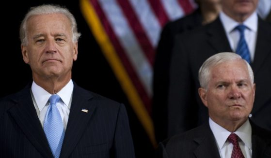 Robert Gates, right, is pictured with then-Vice President Joe Biden at a change-of-command ceremony in Baghdad, Iraq in September of 2010. Despite the two having served together on the same team during the Obama administration, the former US Defense Secretary had harsh criticism during a recent television interview regarding the Biden administration's badly mishandled Afghanistan withdrawal.