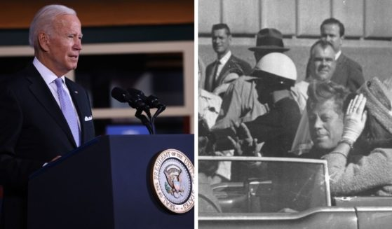 President Joe Biden, seen speaking at an event Wednesday in Scranton, Pennsylvania, has pushed back the release date for documents relating to the assassination of John F. Kennedy, seen at right moments before he was shot dead in Dallas, Texas, on Nov. 22, 1963.