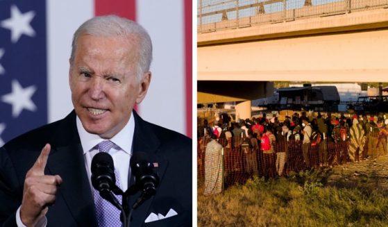 President Joe Biden gives a speech in Scranton, Pennsylvania on Wednesday. Hundreds of migrants wait to board buses in Del Rio, Texas on Sept. 24.