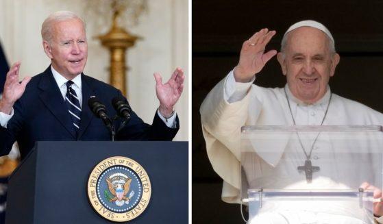 President Joe Biden, left, speaks from the East Room of the White House on Thursday. Pope Francis recites the noon prayer in the Vatican on Sunday.