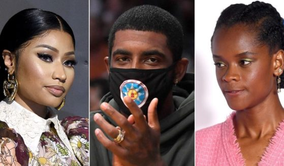 Rapper Nicki Minaj, left, NBA star Kyrie Irving, center, and actress Letitia Wright are some of the black celebrities who have faced harsh criticism for their stance on the coronavirus vaccines.