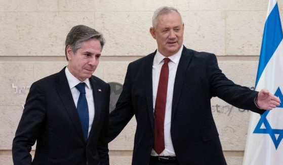 Secretary of State Antony Blinken, left, and Defense Minister Benny Gantz prepare for their meeting with the Ministry of Foreign Affairs in Jerusalem, Israel, on May 25.