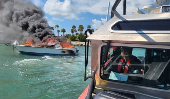 A Coast Guard Station Islamorada rescue crew discovers a vessel fire in the vicinity of Whale Harbor Channel, Islamorada, on Oct. 13, 2021.
