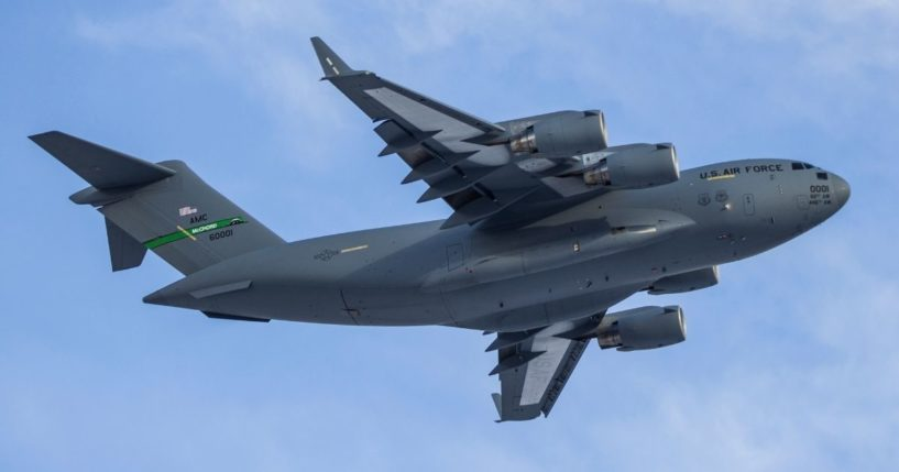 A C-17 airplane is seen in this stock image.