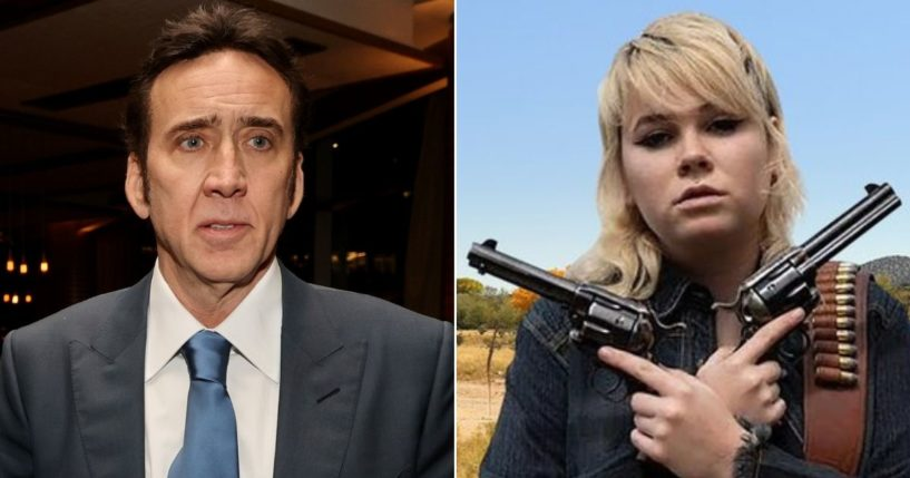"""Actor Nicolas Cage, left, reportedly wasn't happy about the actions of armorer Hannah Gutierrez-Reed, right, on the set of """"The Old Way."""""""