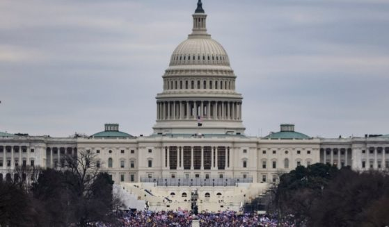 Supporters of then-President Donald Trump gather outside the U.S. Capitol following their rally in Washington on Jan. 6.