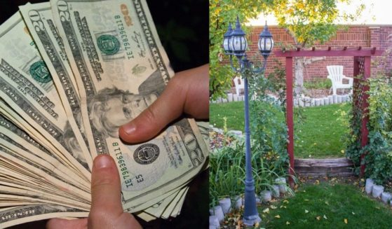 A photo on the left, shows someone holding several hundred dollars in cash. A garden in Westminster, CO is pictured on the right.
