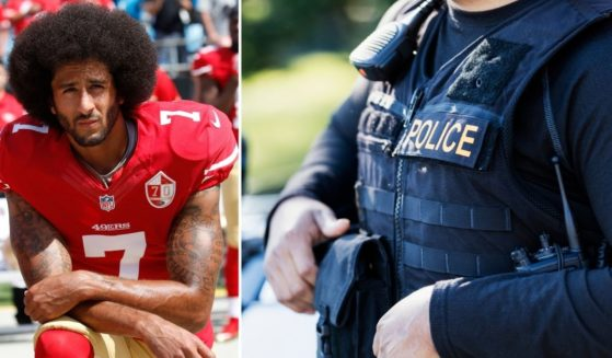 Colin Kaepernick of the San Francisco 49ers, left, kneels during the national anthem prior to a game against the Carolina Panthers at Bank of America Stadium on Sept. 18, 2016, in Charlotte, North Carolina. A police officer is seen in the stock image on the right.