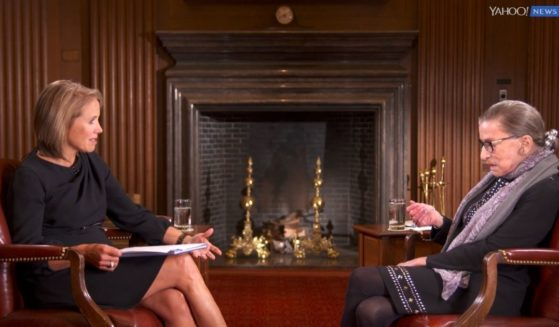 Katie Couric interviews Supreme Court Justice Ruth Bader Ginsburg for Yahoo News in October 2016.
