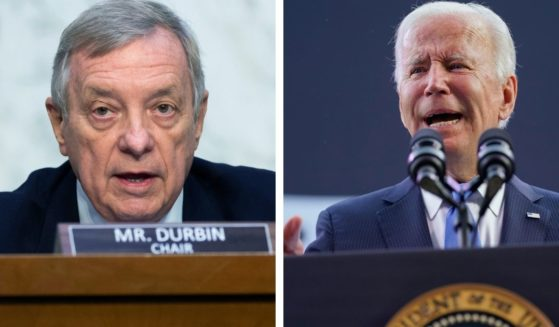 Democratic Sen. Dick Durbin, left, talks during a Senate Judiciary hearing on Capital Hill on Sept. 15. President Joe Biden gives remarks during the Dodd Center for Human Rights dedication in Storrs, Connecticut on Friday.