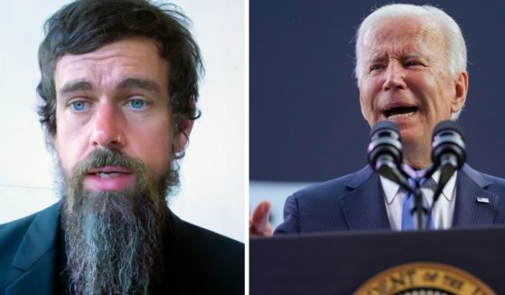 Twitter CEO Jack Dorsey, left, speaks to the Senate Commerce Committee on Oct. 28, 2020. President Joe Biden speaks at the Dodd Center for Human Rights in Storrs, Connecticut on Oct. 15.