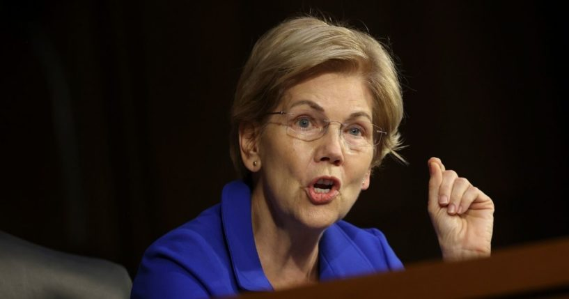 Democratic Sen. Elizabeth Warren of Massachusetts questions Treasury Secretary Janet Yellen and Federal Reserve Chairman Jerome Powell during a Senate Banking, Housing, and Urban Affairs Committee hearing on Sept. 28 in Washington, D.C.