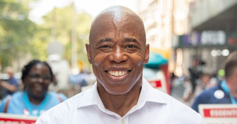 """Democratic New York City mayoral nominee Eric Adams attends the """"Hometown Heroes"""" Ticker Tape Parade on July 7, 2021, in New York City."""