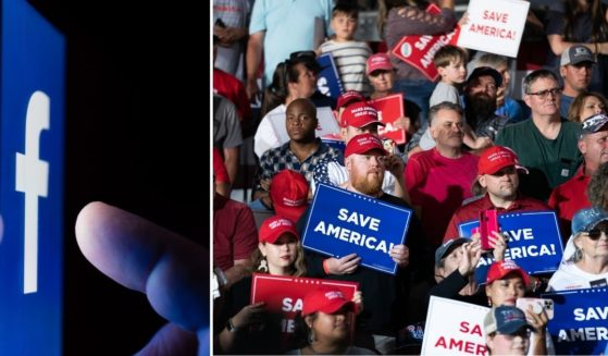 The Facebook logo is seen on a cellphone screen in the stock image on the left. Supporters of former President Donald Trump listen at a rally on Sept. 25 in Perry, Georgia.
