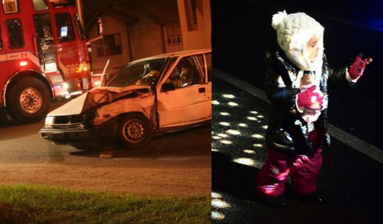 Firefighters are seen at the scene of an accident. A little girl attempts to catch the light in the dark.