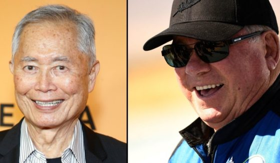 George Takei, left, is seen at Golden Theatre on Wednesday in New York City. William Shatner speaks to the media on Wednesday near Van Horn, Texas.