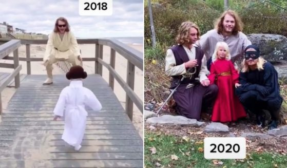 The Schmidt siblings pose for Halloween photos.
