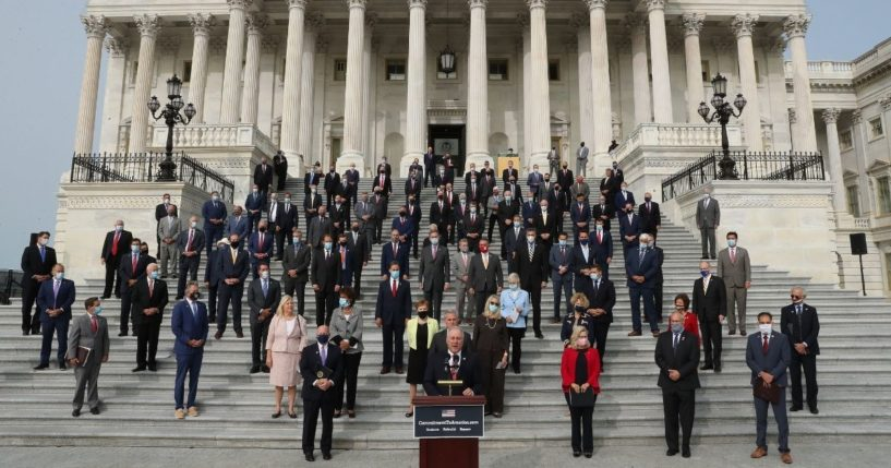House Republicans gather on the East Steps of the House of Representatives to introduce their proposed legislative agenda on Sept. 15, 2020, in Washington, D.C.