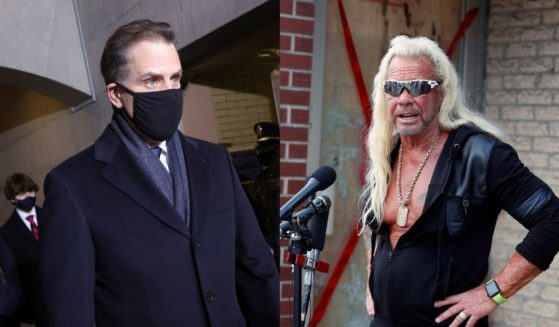"""Hunter Biden, left, approaches the West Front of the U.S. Capitol for his father's presidential inauguration on Jan. 20. Duane """"Dog the Bounty Hunter"""" Chapman, right, speaks to reporters in Edgewater, Colorado on Aug. 2, 2019."""