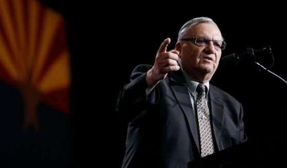 Then-Maricopa County Sheriff Joe Arpaio speaks in support of Donald Trump during a campaign rally on Aug. 31, 2016, in Phoenix.