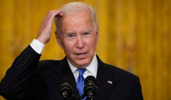 President Joe Biden speaks about supply chain bottlenecks in the East Room of the White House on Wednesday in Washington, D.C.