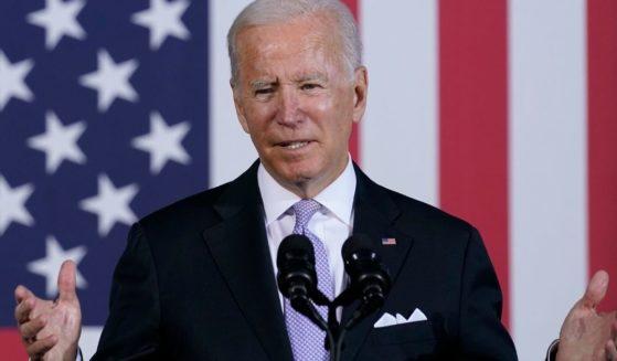 President Joe Biden gives a speech at the Electric City Trolley Museum in Scranton, Pennsylvania on Wednesday.