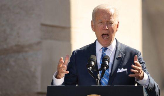 President Joe Biden delivers remarks at the Martin Luther King Jr. Memorial on Thursday in Washington, D.C.