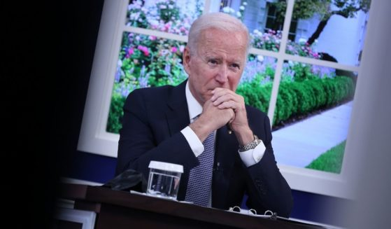 President Joe Biden hosts a meeting in the Eisenhower Executive Office Building on Wednesday in Washington, D.C.