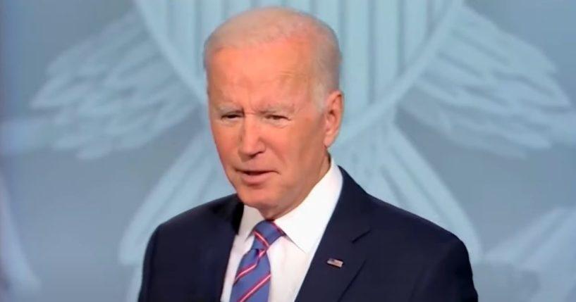 President Joe Biden speaks during a CNN town hall in Baltimore on Thursday night.