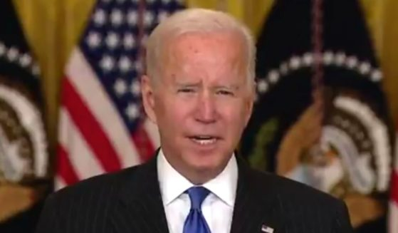 President Joe Biden delivers a speech at the White House on Wednesday.