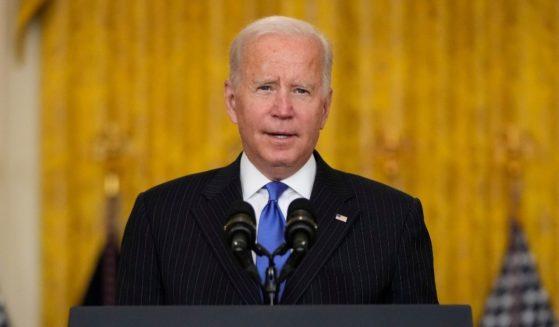 President Joe Biden speaks about supply chain bottlenecks at the White House on Wednesday.