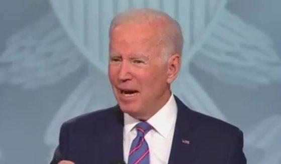 President Joe Biden speaks during a CNN town hall in Baltimore on Thursday.