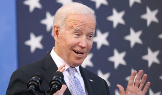 President Joe Biden speaks at the Electric City Trolley Museum on Wednesday in Scranton, Pennsylvania.