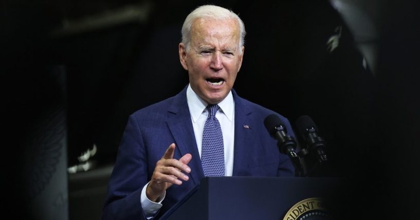 President Joe Biden gives a speech on his Bipartisan Infrastructure Deal and Build Back Better Agenda at the NJ Transit Meadowlands Maintenance Complex on Monday in Kearny, New Jersey.