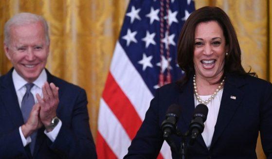Vice President Kamala Harris speaks as President Joe Biden applauds during an event at the White House on June 17, 2021, in Washington, D.C.