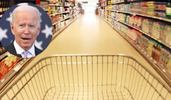 President Joe Biden speaks at the Electric City Trolley Museum on Wednesday in Scranton, Pennsylvania. A cart is seen in a grocery store in the above stock image.