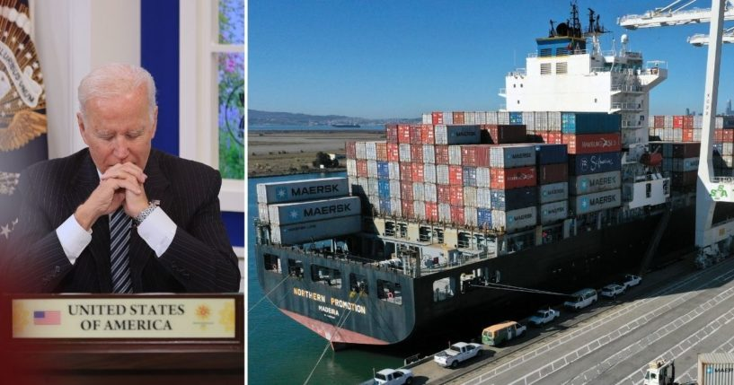 President Joe Biden, left, delivers remarks in the Eisenhower Executive Office Building on Tuesday in Washington, D.C. A container ship is unloaded at the Port of Oakland on Oct. 14 in Oakland, California.