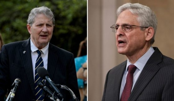 Sen. John Kennedy, left, speaks at a news conference on Oct. 7 in Washington, D.C. Attorney General Merrick Garland speaks during an event at the Department of Justice on Friday in Washington, D.C.