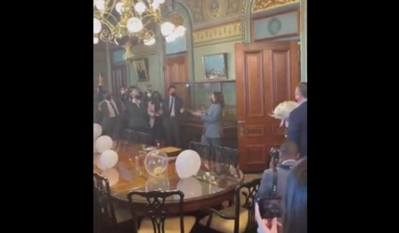 """Vice President Kamala Harris walks into her own surprise birthday party shouting """"surprise."""""""