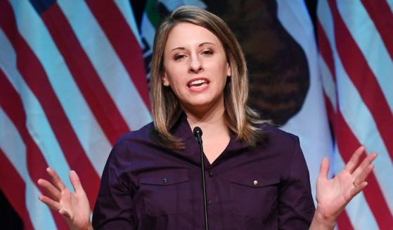 Then-Democratic congressional candidate Katie Hill speaks at a campaign rally before the mid-term elections in Santa Clarita, California, on Nov. 3, 2018.