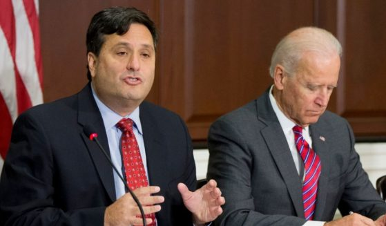 Ron Klain, left, accompanied by then-Vice President Joe Biden, speaks during a meeting in the Eisenhower Executive Office Building on the White House compound in Washington on Nov. 13, 2014.