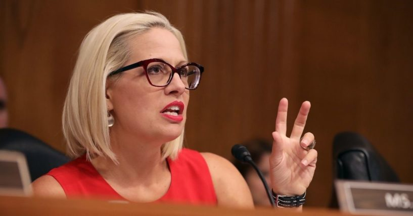 Senate Aviation and Space Subcommittee ranking member Sen. Kyrsten Sinema questions witnesses during a hearing on Capitol Hill on May 14, 2019, in Washington, D.C.