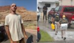 """Left: An Aug. 12, 2021, file photo from video provided by the Moab, Utah, Police Department shows Brian Laundrie talking to a police officer after police pulled over the van he was traveling in with his girlfriend, Gabrielle """"Gabby"""" Petito, near the entrance to Arches National Park in Utah. Right: FBI agents begin to take away evidence from the family home of Laundrie on Sept. 20, 2021 in North Port, Florida."""
