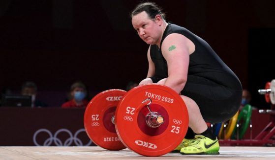 New Zealand's Laurel Hubbard participates in the women's +87kg weightlifting competition during the Olympic Games at the Tokyo International Forum in Tokyo on Aug. 2.