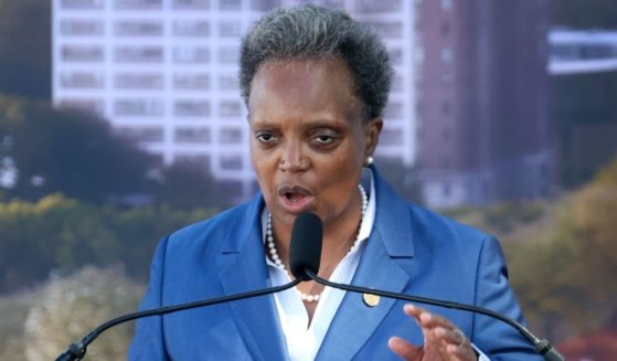 Chicago Mayor Lori Lightfoot speaks during the ceremonial groundbreaking for the Obama Presidential Center in the city's Jackson Park on Sept. 28.