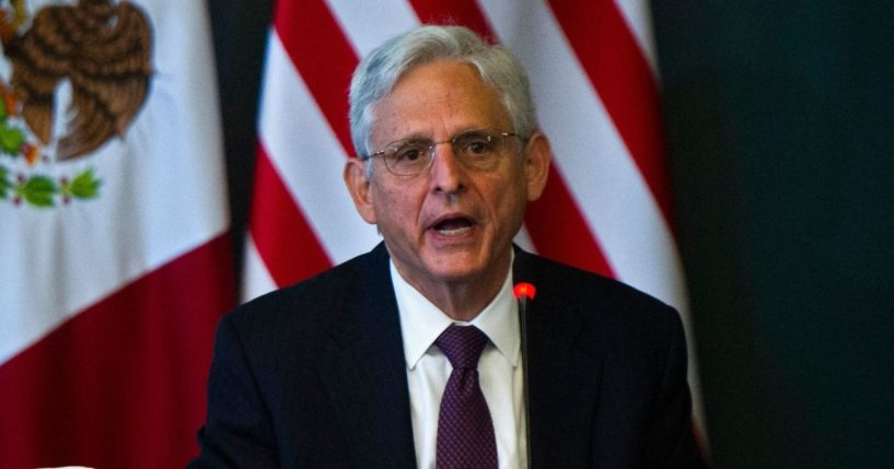 Attorney General Merrick Garland speaks during the U.S.-Mexico High Level Security Dialogue at the Mexican Ministry of Foreign Relations in Mexico City on Friday.