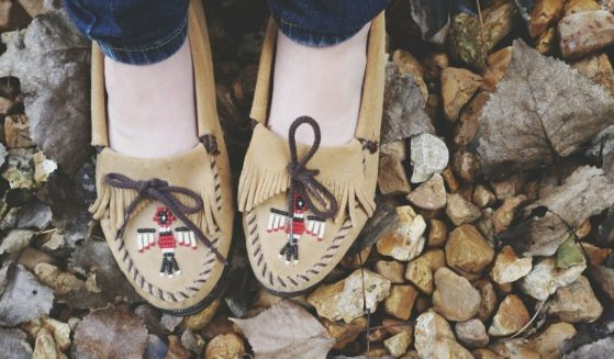 """This stock image shows a pair of """"moccasin"""" shoes. Minnesota-based shoe brand Minnetonka took the opportunity to apologize for using the word """"moccasin"""" and appropriating Native American culture."""