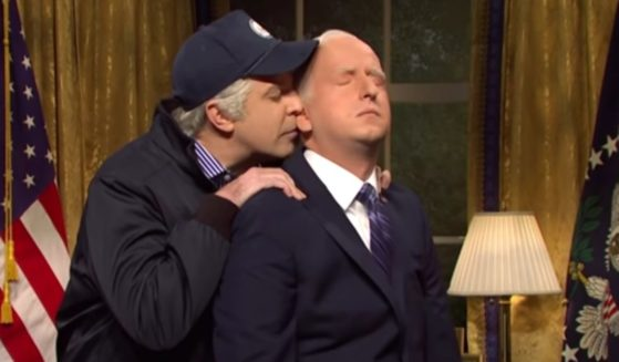 In a Saturday Night Live skit, Jason Sudeikis, playing Vice President Joe Biden, left,pays a visit to New (President) New Joe Biden, played by James Austin Johnson.